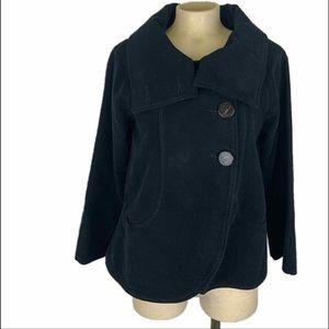 Zara Black Suede Button Up Jacket Size XS